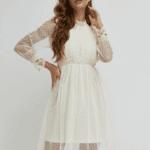 Palem Sukienka Koronkowa Biała
