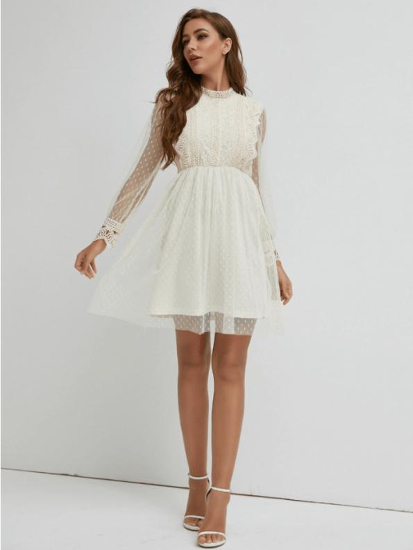 Secret Wish Boutique Sukienka Koronkowa Biała z Długim Rękawem Mini (3)