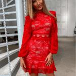 Salla Sukienka Koronkowa Czerwona
