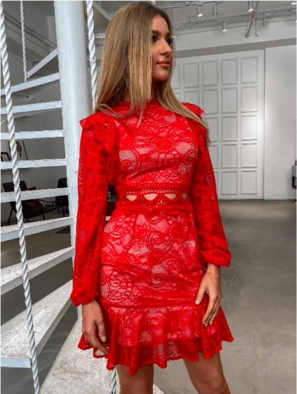 Secret Wish Boutique Sukienka Koronkowa Czerwona z Długim Rękawem Mini