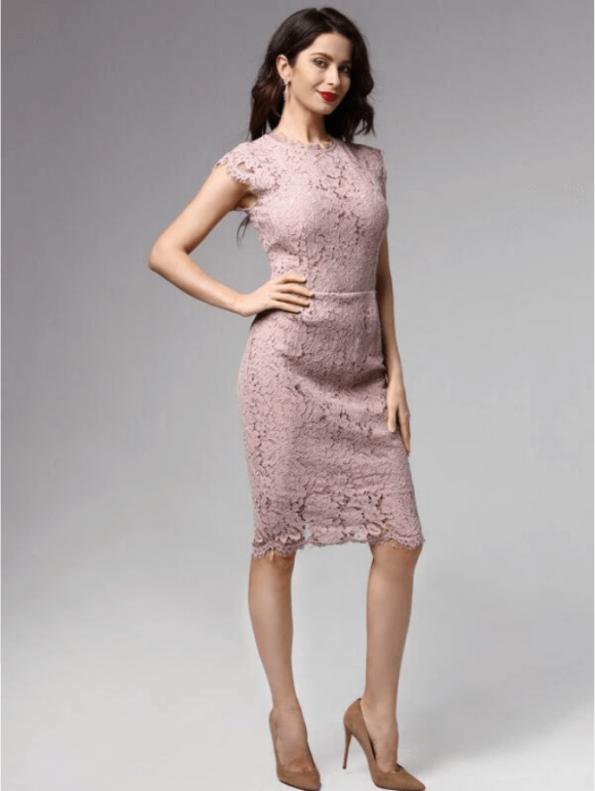 Secret Wish Boutique Sukienka Koronkowa Pudrowy Róż z Krótkim Rękawem Midi (1)