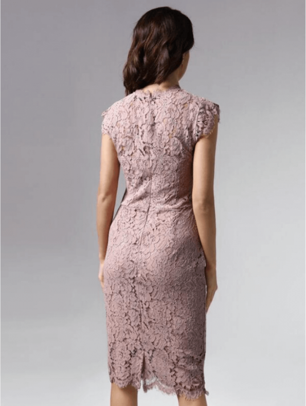 Secret Wish Boutique Sukienka Koronkowa Pudrowy Róż z Krótkim Rękawem Midi (4)