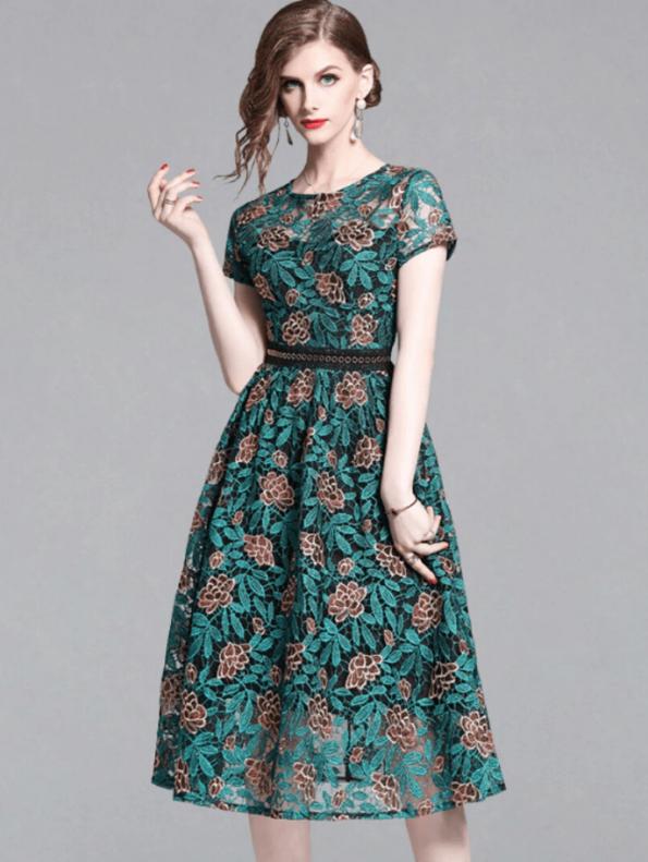 Secret Wish Boutique Sukienka Koronkowa Zielona z Krótkim Rękawem za Kolano Midi (3)