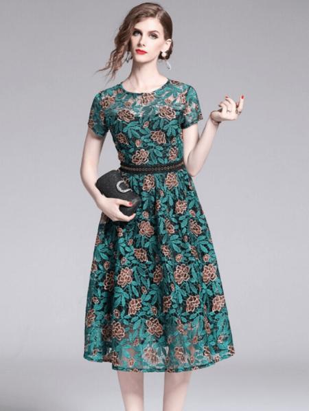 Marrie Sukienka Koronkowa Zielona