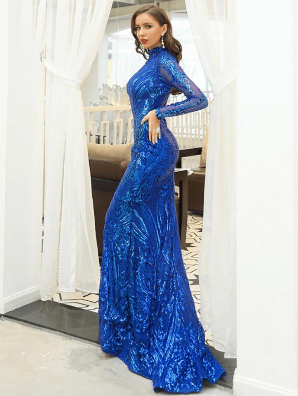 Secret Wish Boutique Sukienka Niebieska w Cekiny z Długim Rękawem Maxi (1)