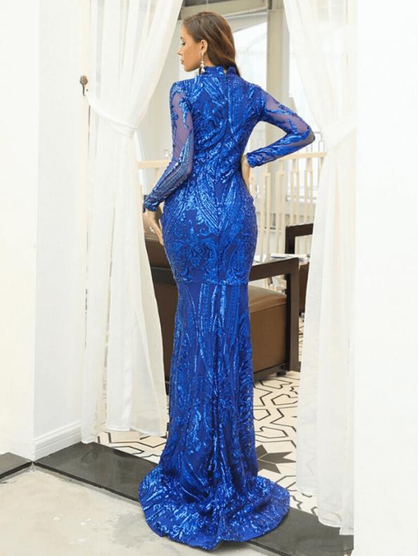 Secret Wish Boutique Sukienka Niebieska w Cekiny z Długim Rękawem Maxi (2)