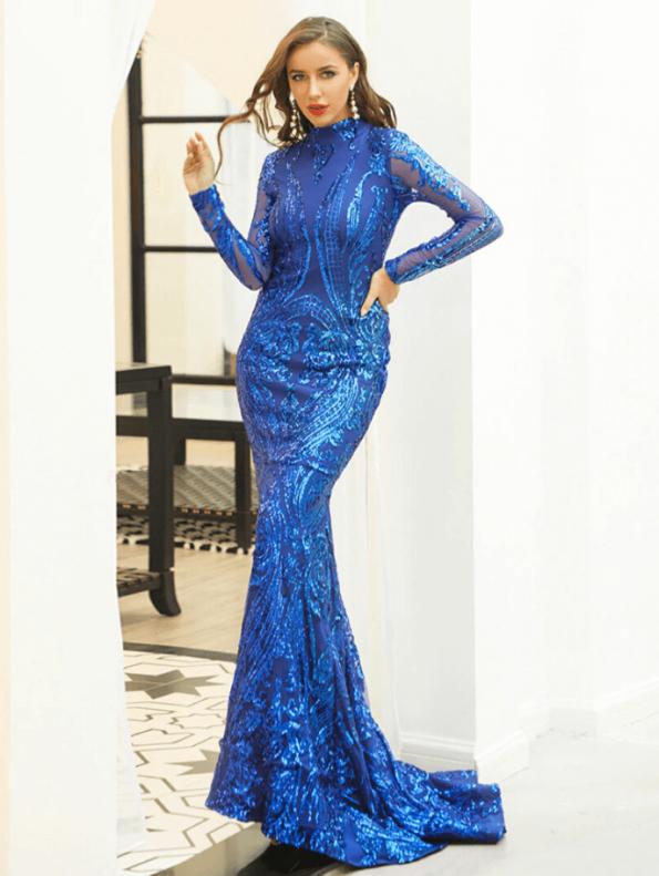 Secret Wish Boutique Sukienka Niebieska w Cekiny z Długim Rękawem Maxi