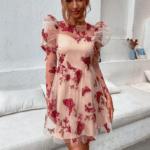 Faune Sukienka Różowa Kwiaty
