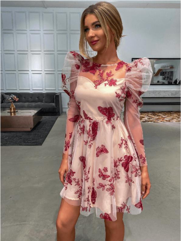 Secret Wish Boutique Sukienka Różowa Haftowana z Krótkim Rękawem Mini (5)