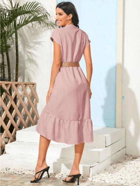 Affartty Sukienka Różowa Falbanka