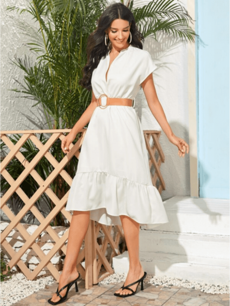 Affartty Sukienka Biała Falbanka