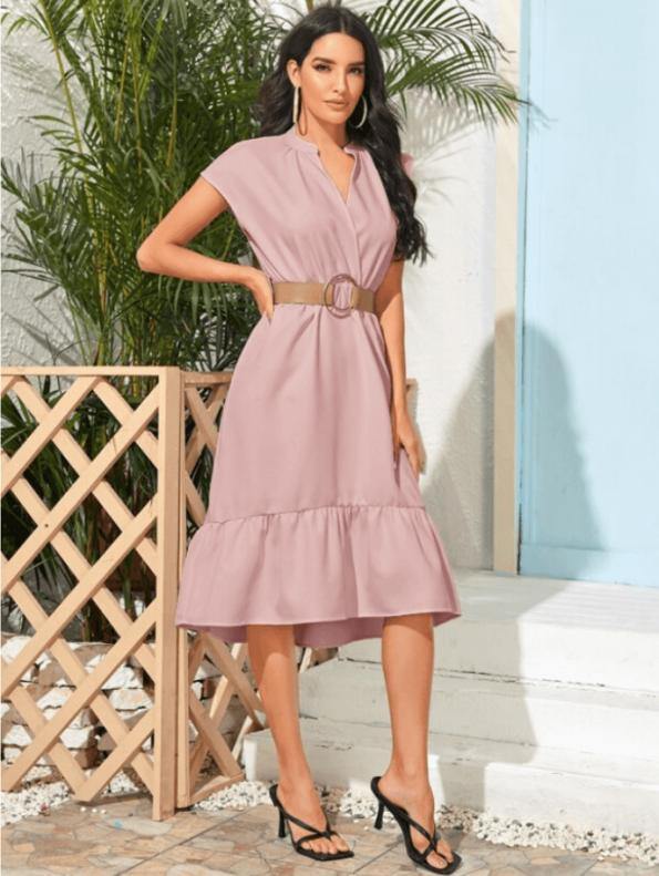 Secret Wish Boutique Sukienka Różowa z Krótkim Rękawem za Kolano Midi (3)