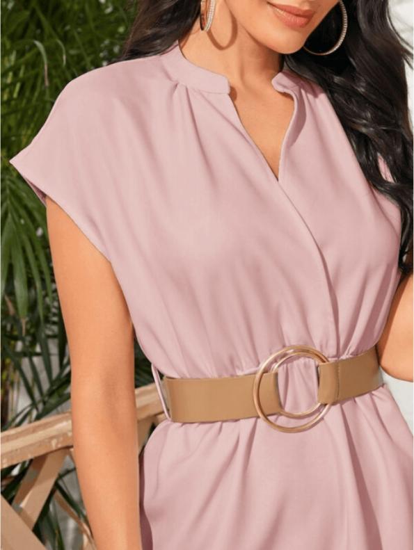 Secret Wish Boutique Sukienka Różowa z Krótkim Rękawem za Kolano Midi (4)