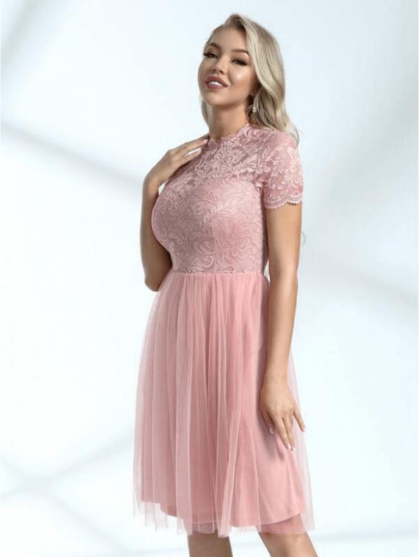 Secret Wish Boutique Sukienka Rozkloszowana Pudrowy Róż Przed Kolano Mini (2)