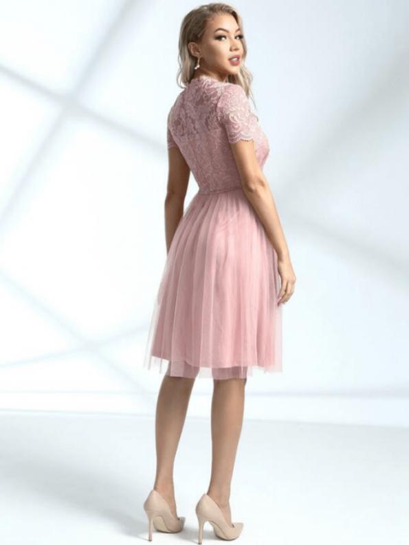 Secret Wish Boutique Sukienka Rozkloszowana Pudrowy Róż Przed Kolano Mini (4)