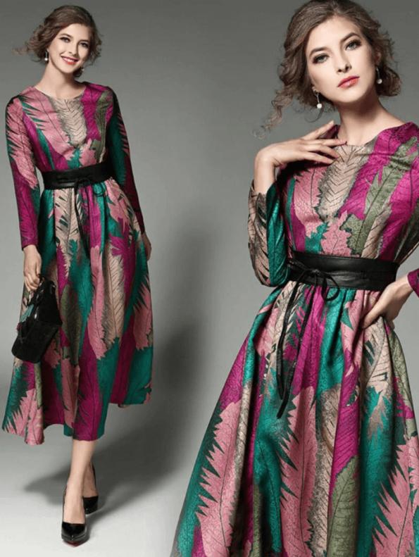 Secret Wish Boutique Sukienka Rozkloszowana w Kolorowe Wzory z Długim Rękawem Midi (1)