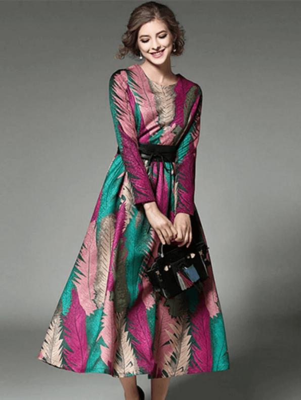 Secret Wish Boutique Sukienka Rozkloszowana w Kolorowe Wzory z Długim Rękawem Midi (2)