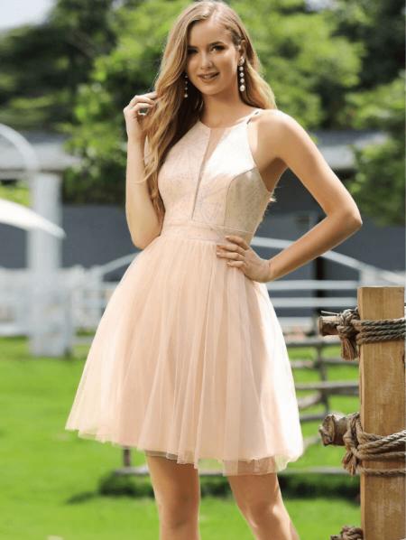 Blanca Sukienka Beżowa Rozkloszowana
