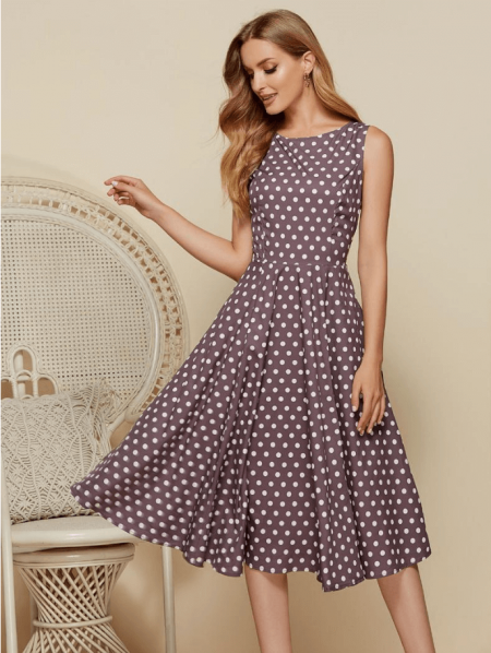 Dellis Sukienka Brązowa Kropki