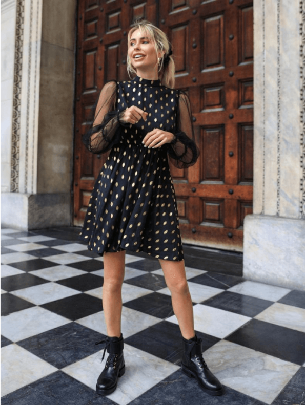 Secret Wish Boutique Sukienka Czarna w Złote Kropki z Długim Rękawem Mini (2)