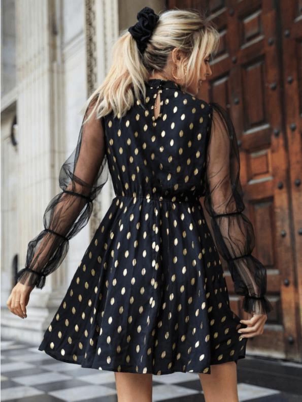 Secret Wish Boutique Sukienka Czarna w Złote Kropki z Długim Rękawem Mini (3)