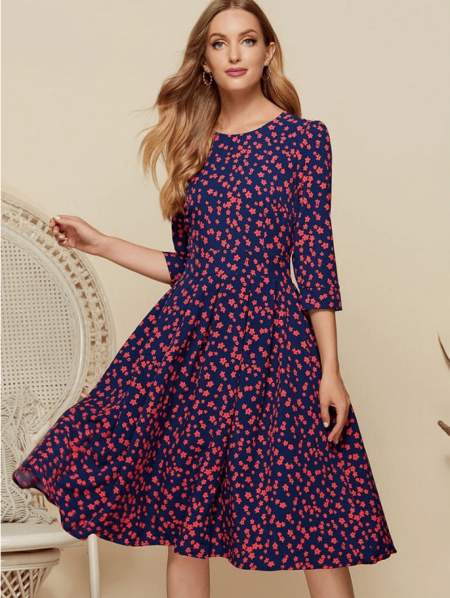 Ellenia Sukienka Granatowa Kwiaty