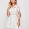 Alleri Sukienka Biała Koronkowa