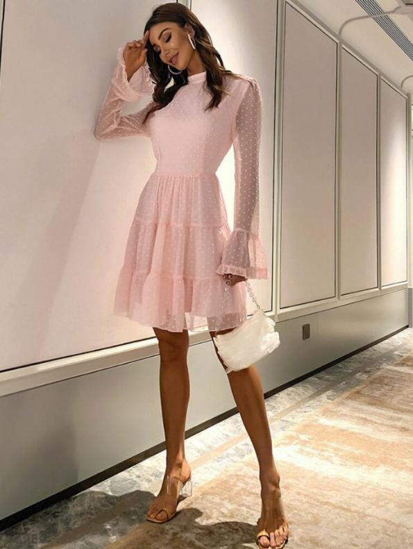 Secret Wish Boutique Sukienka Koronkowa Pudrowy Róż z Długim Rękawem Przed Kolano