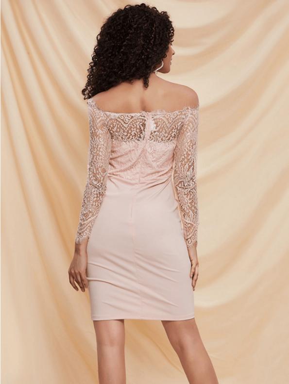 Secret Wish Boutique Sukienka Ołówkowa Koronkowa Pudrowy Róż z Długim Rękawem Przed Kolano (2)
