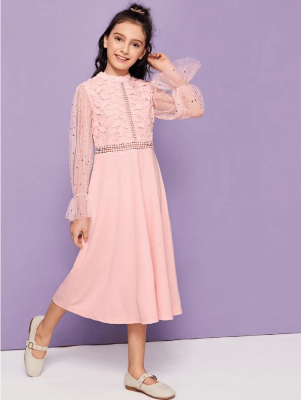 Secret Wish Boutique Sukienka Różowa Midi dla Dziewczynki z Długim Rękawem Midi (2)