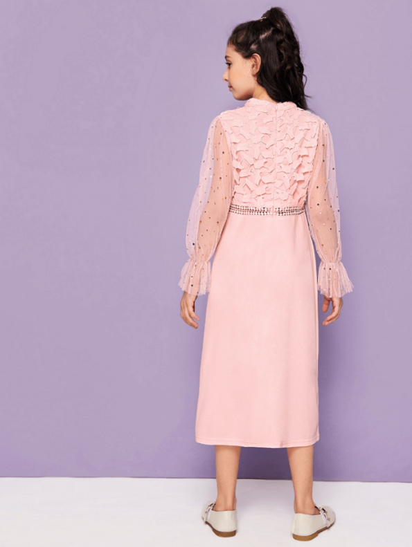 Secret Wish Boutique Sukienka Różowa Midi dla Dziewczynki z Długim Rękawem Midi (3)