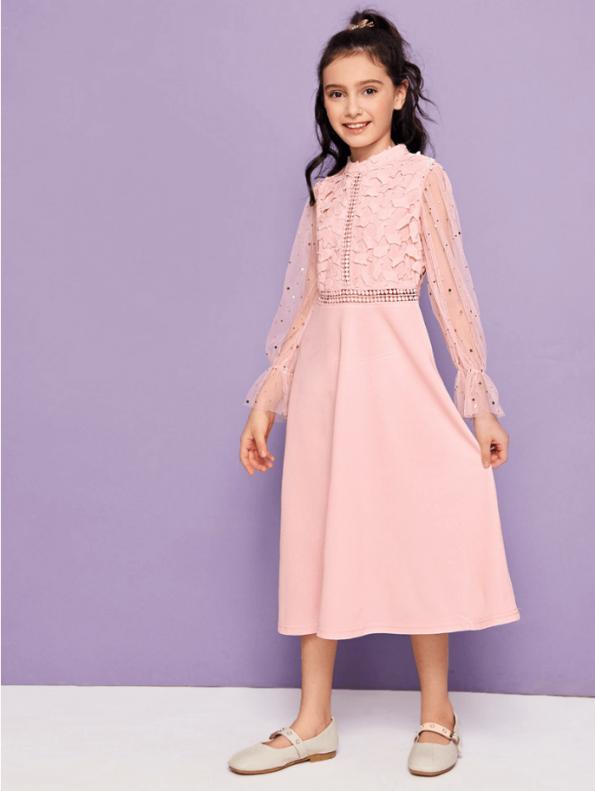 Secret Wish Boutique Sukienka Różowa Midi dla Dziewczynki z Długim Rękawem Midi