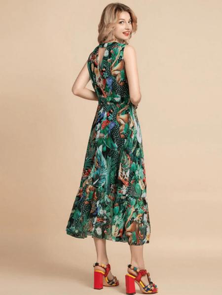 Tassla Sukienka Zielona Kwiaty