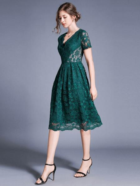 Ellivi Sukienka Koronkowa Zielona