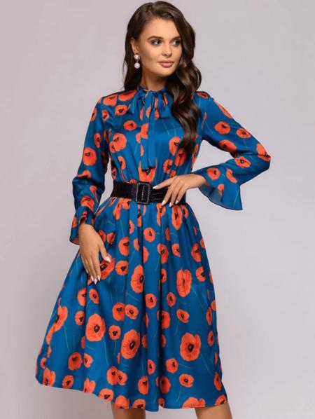 Oria Sukienka Niebieska Kwiaty
