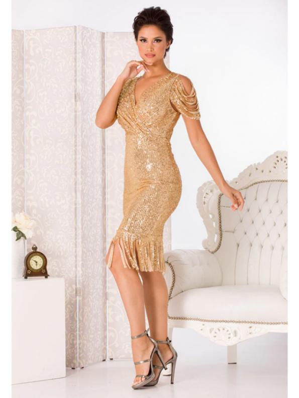 Secret Wish Boutique Sukienka w Cekiny Beżowa Eru z Krótkim Rękawem za Kolano Midi (1)