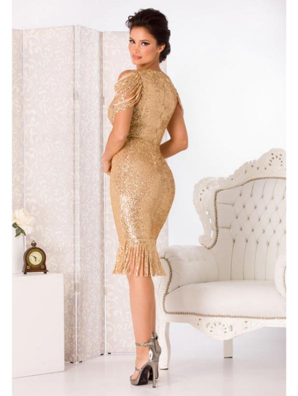 Secret Wish Boutique Sukienka w Cekiny Beżowa Eru z Krótkim Rękawem za Kolano Midi (2)