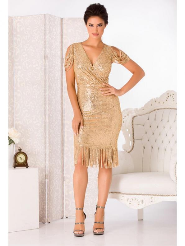 Auffora Sukienka w Cekiny Złota z Krótkim Rękawem Midi