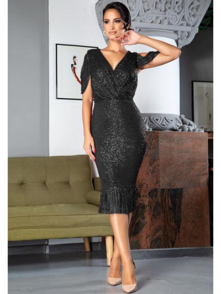 Auffora Sukienka w Cekiny Czarna z Krótkim Rękawem Midi