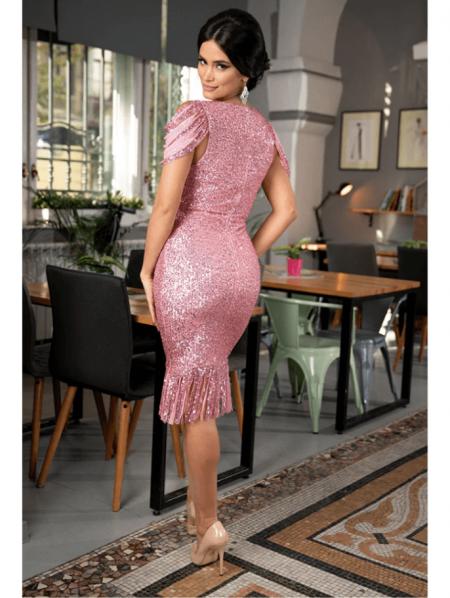 Auffora Sukienka w Cekiny Różowa z Krótkim Rękawem Midi