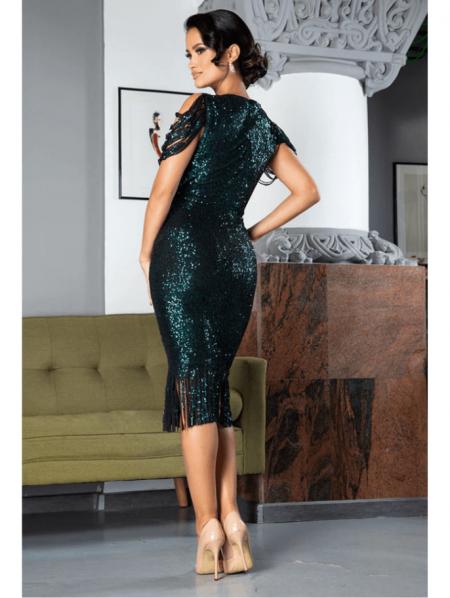 Auffora Sukienka w Cekiny Zielona z Krótkim Rękawem Midi