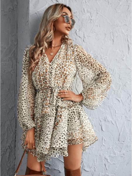 Rovena Sukienka w Panterkę