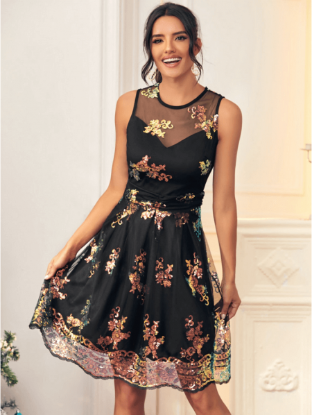 Ceyra Sukienka Czarna Cekiny