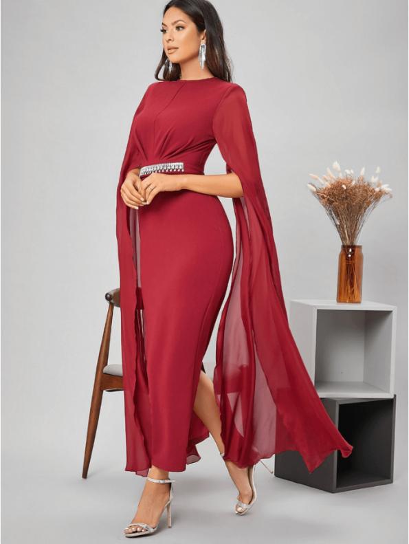 Secret Wish Boutique Sukienka Czerwona Koktajlowa z Długim Rękawem Maxi (1)