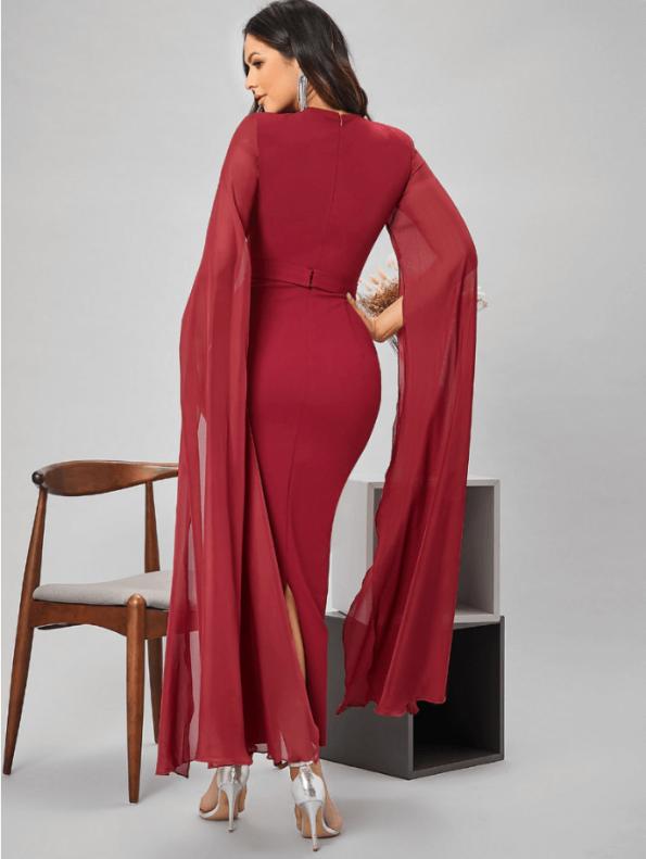 Secret Wish Boutique Sukienka Czerwona Koktajlowa z Długim Rękawem Maxi (3)