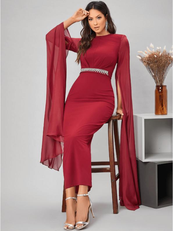 Secret Wish Boutique Sukienka Czerwona Koktajlowa z Długim Rękawem Maxi (4)
