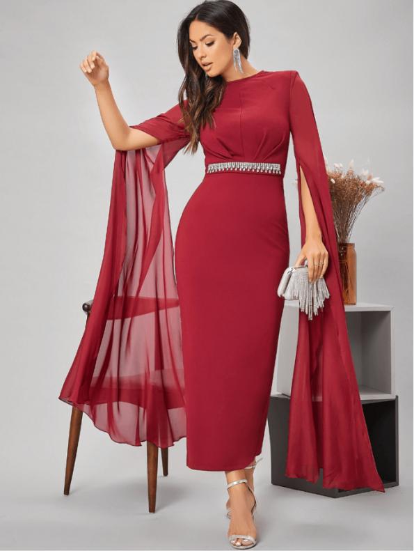 Secret Wish Boutique Sukienka Czerwona Koktajlowa z Długim Rękawem Maxi