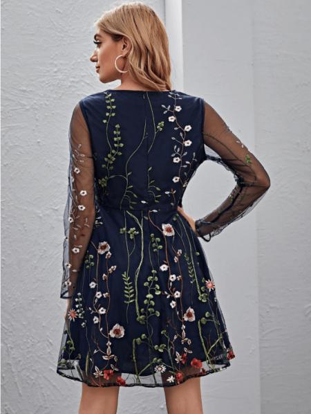 Marsilli Sukienka Granatowa Kwiaty