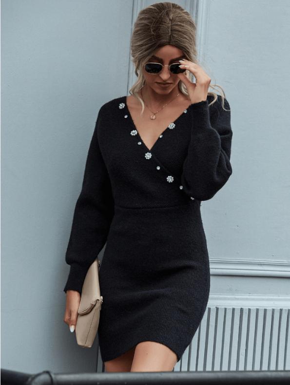 Secret Wish Boutique Sukienka Nietoperz Czarna Sweterkowa z Długim Rękawem Mini (2)