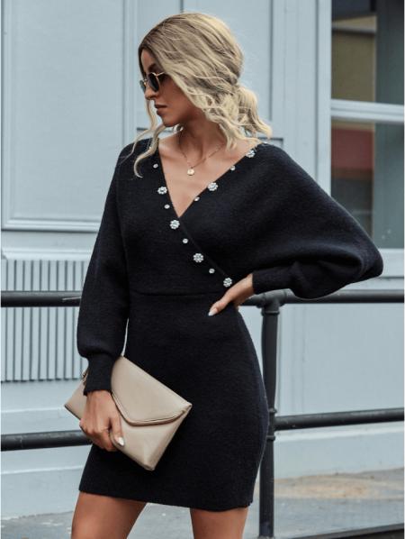 Rubby Sukienka Czarna Sweterkowa